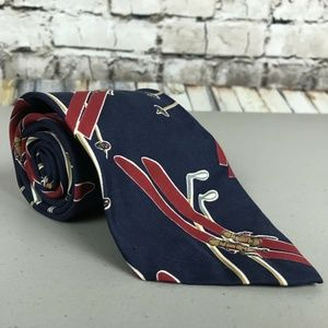 Polo Ralph Lauren Necktie Blue Ski Theme Winter